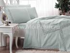 Jakkar pike Tac (Турция) - Красивый комплект постельное белья мятного цвета Frozen mint 100% хлопок Евро размер АКЦИЯ!